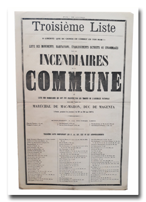 paris, commune, histoire de paris, incendies, liste des barricades, propagande, 1871, tracts, placards