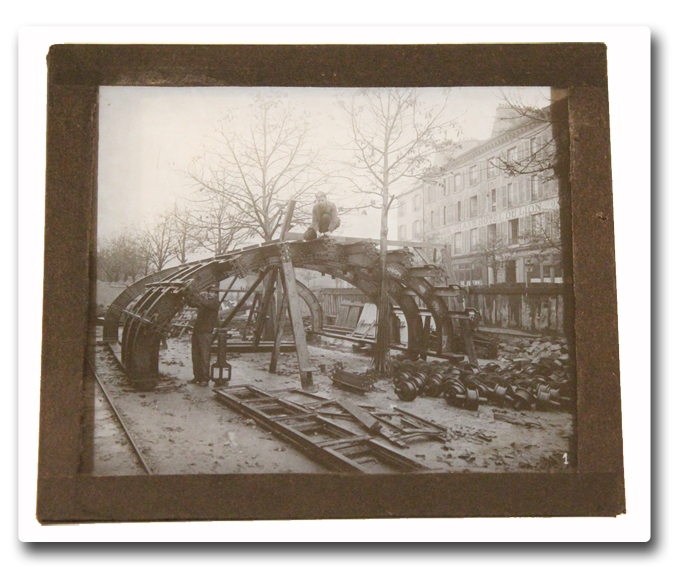 maindron, construction, metro, paris, photo, plaque de verre, 1905, positif, ligne 4, ligne 2 sud