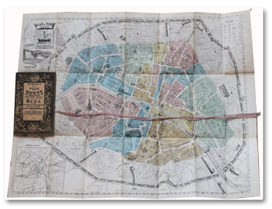 paris, plan, 1854, systeme acklin, bouquillard, couleurs, ruban, fortifications, thiers, haussmann