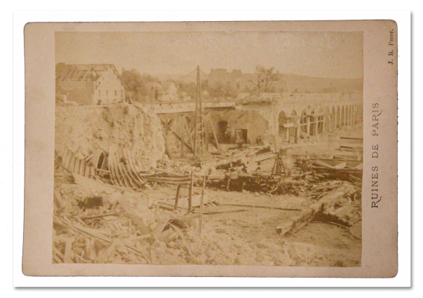paris, auteuil, photo, cabinet, destruction, siege de paris, commune, ruines, viaduc, gare