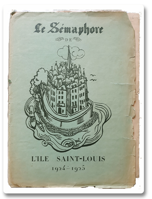 paris, ile saint-louis, journaux, sémaphore, semaphore de l'ile saint louis, roger dévigne, 1925, presse à bras, quai d'anjou, collection